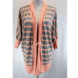 Bobeau Large Cardigan Sweater Peach Orange Gray